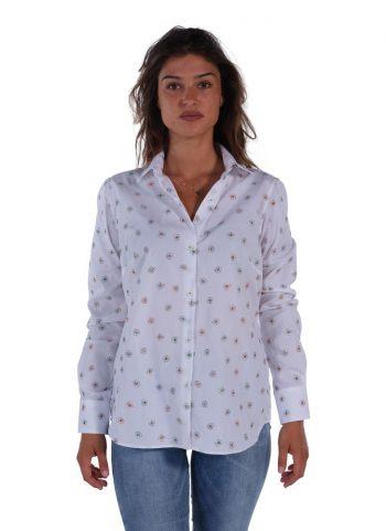 Camicia Floreale  Collo Morbido Bianca
