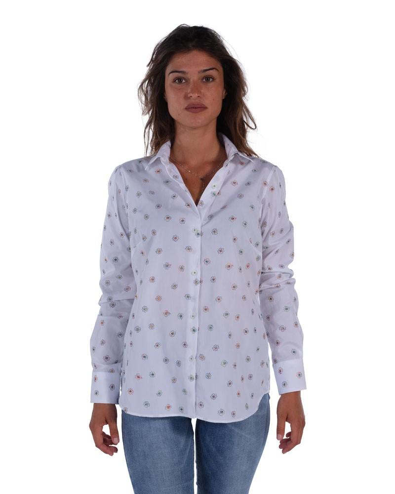 Floral shirt  Soft neck white