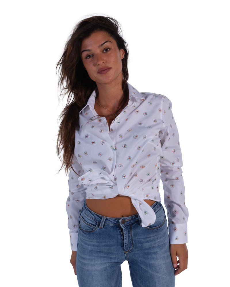 Floral shirt  Soft neck white