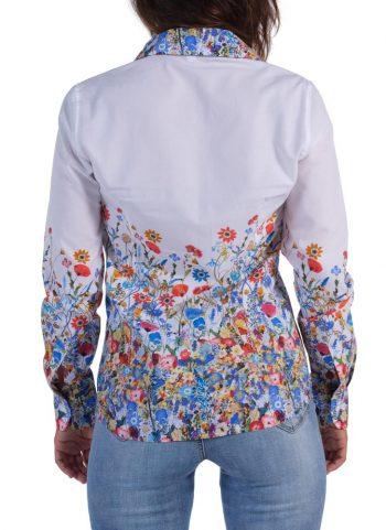 Camicia Floreale Collo Morbido Bianco