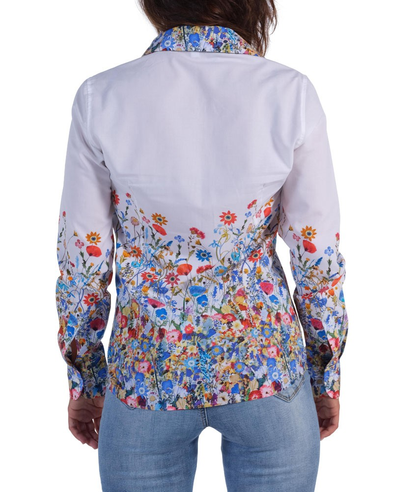 Floral shirt  Soft white neck