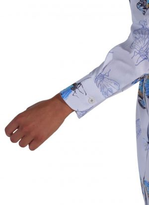 Camicia Floreale Collo Morbido Azzurra