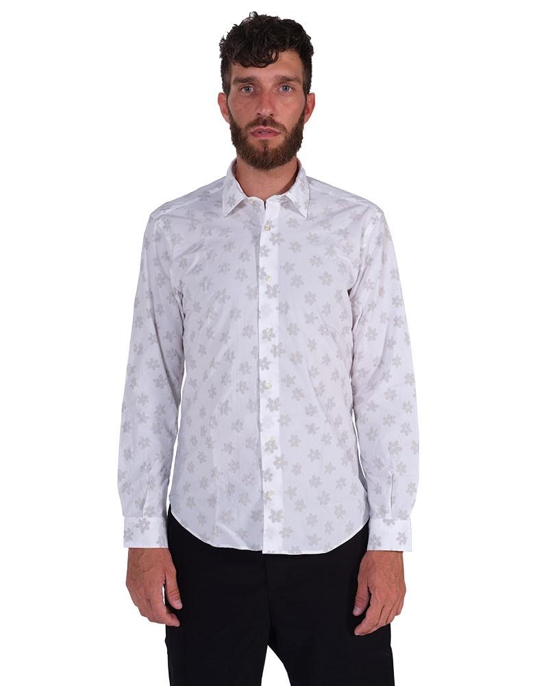 Floral Shirt. Soft Collar. White