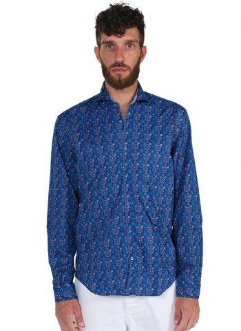 Fantasy Shirt.Soft Collar. Blu/ White