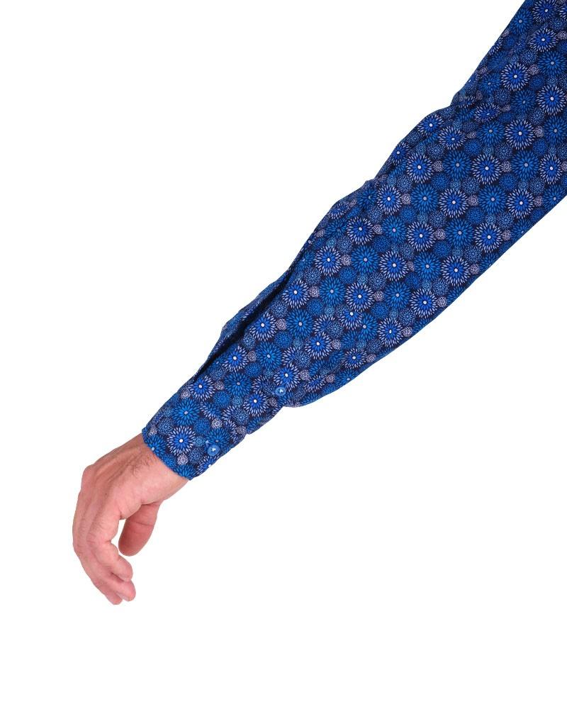 Camicia Fantasia  Collo Morbido Azzurro/Bianco