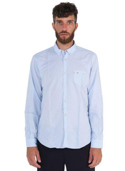 Light blu shirt . Soft Collar.