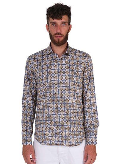 Camicia Fantasia  Collo Morbido Azzurro/Marrone