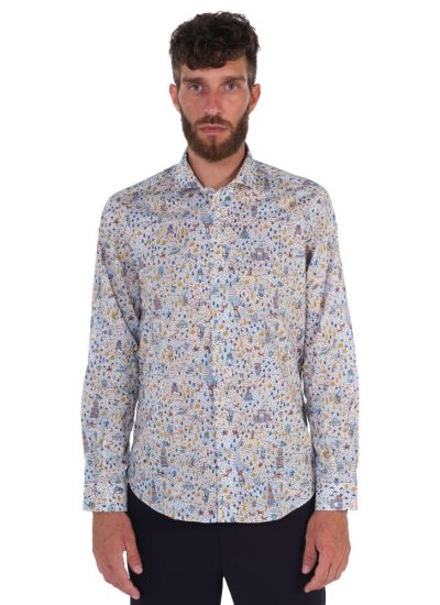 Camicia Fantasia  Collo Morbido Multicolore