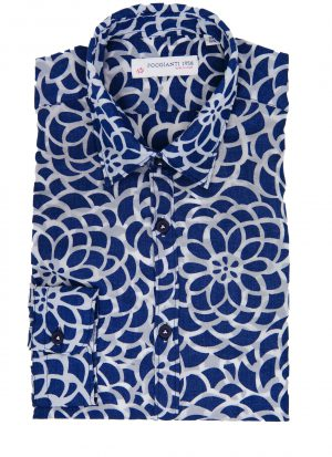 Camicia Fantasia Collo Morbido Blu