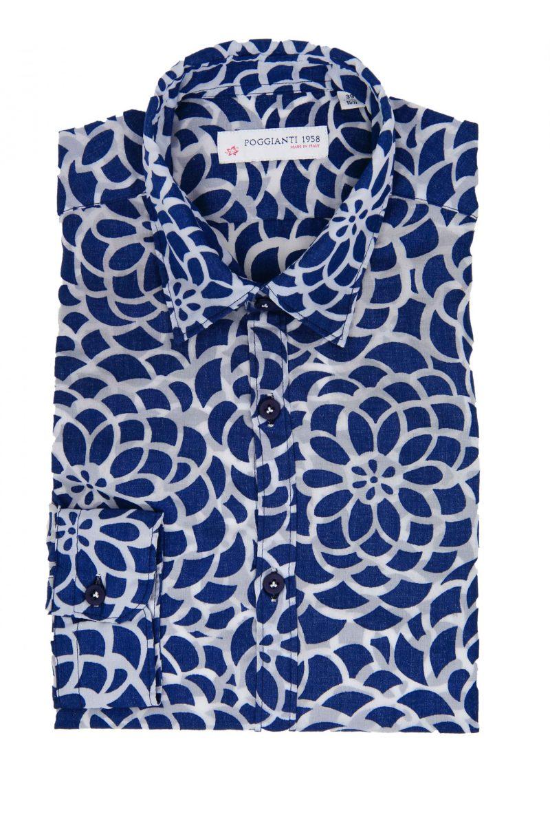 Camicia Fantasia Collo Morbido Blu