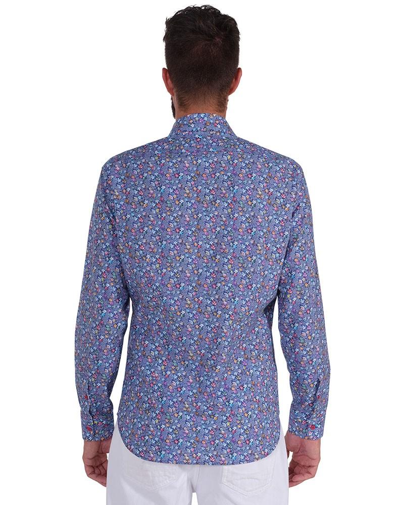 Fantasy Shirt.Rigid Collar. Blu