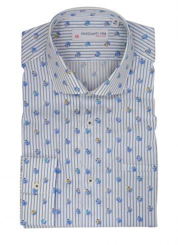Fantasy Shirt. Soft Collar. Blu/White