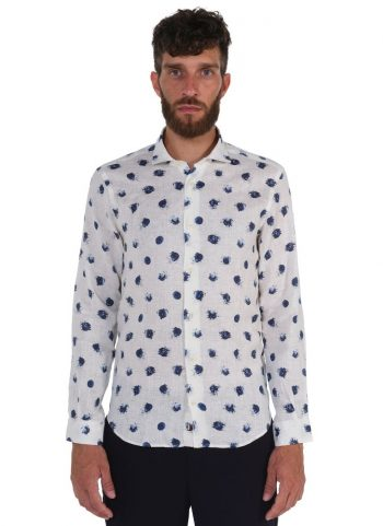 Camicia Fantasia  Collo Morbido Bianco