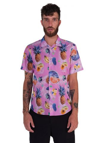 Camicia Fantasia Collo Morbido Rosa