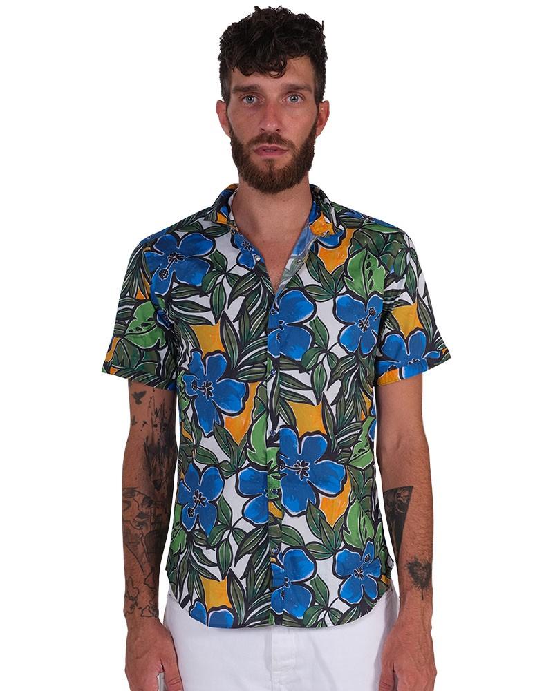 Camicia Fantasia Collo Morbido azzurro