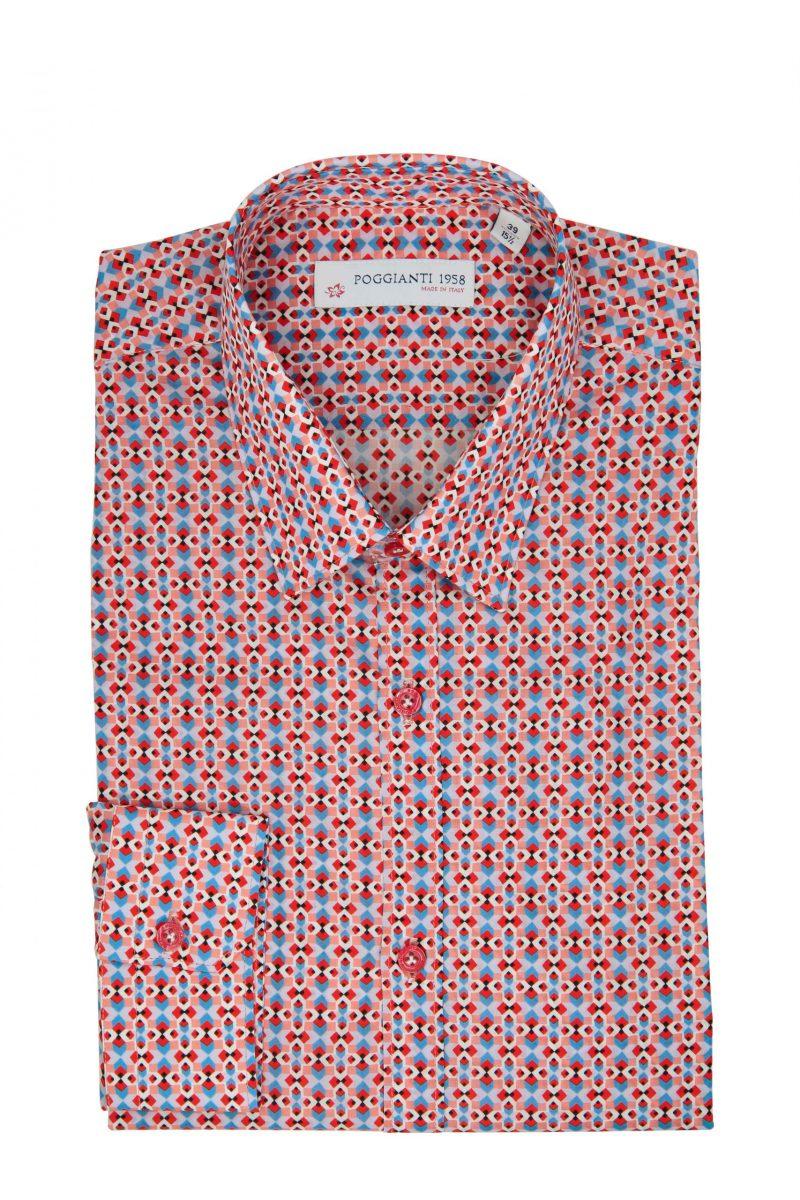 Camicia Fantasia  Collo Rigido Rosso