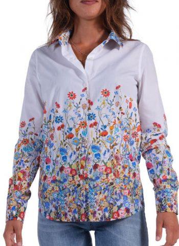 Floral shirt  Soft white neck