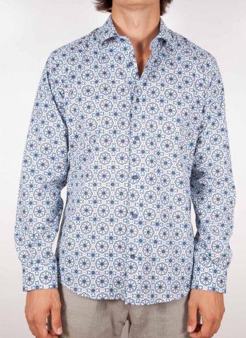 Camicia Fantasia Collo Morbido Azzurra