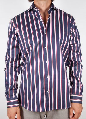 Shirt with blue and white lines.