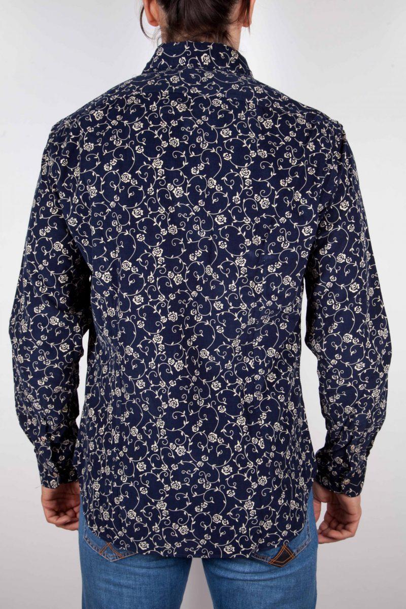 Camicia Fantasia su riga Blu Collo Italiano