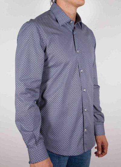 Blu fashion shirt, italian collar