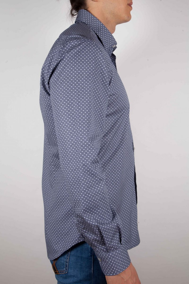Blu fashion shirt, italian collar