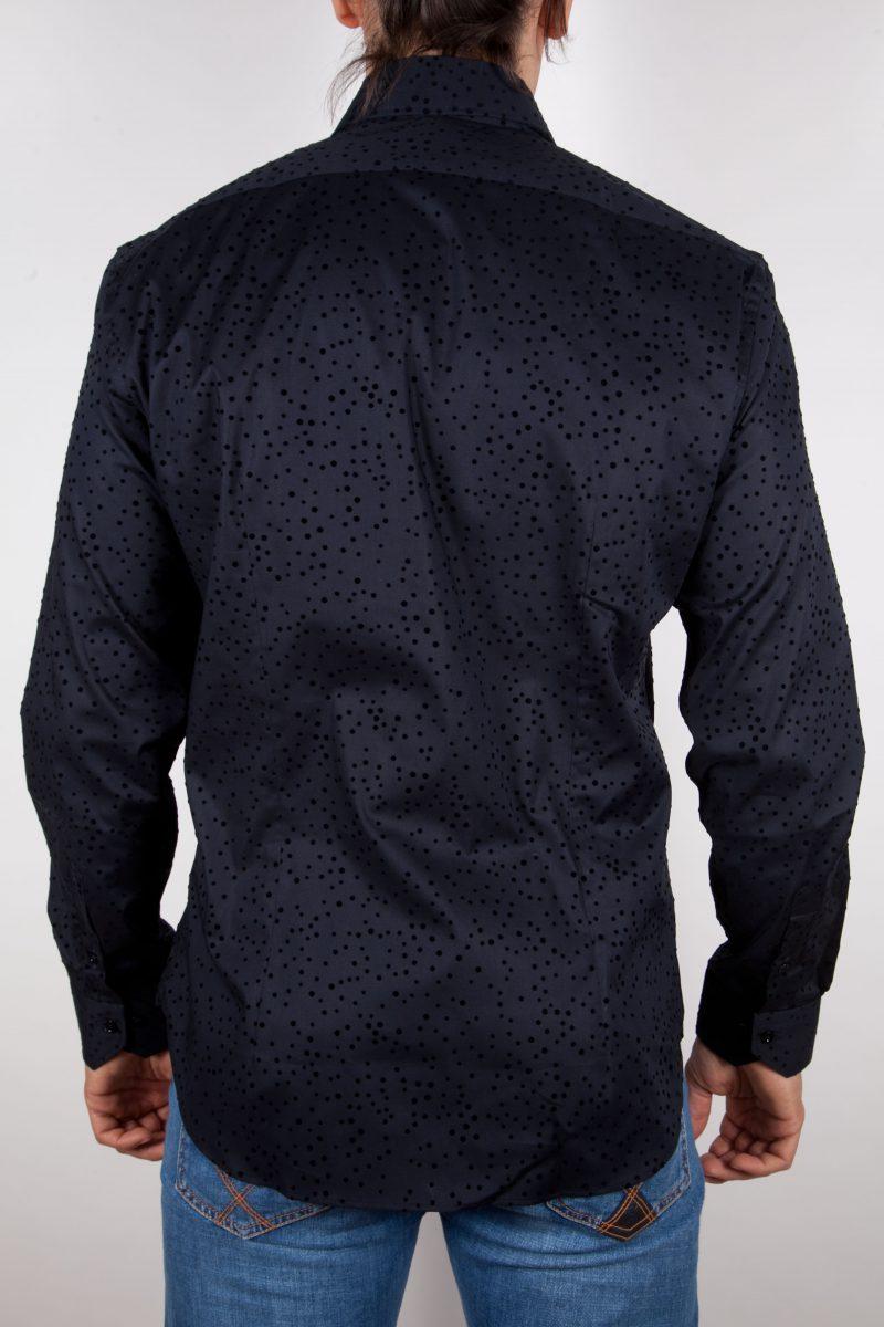 Camicia Fantasia Floccato Nero