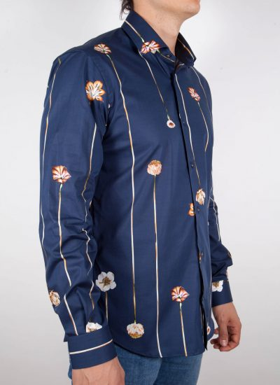 Camicia Fantasia Blu Collo Francese