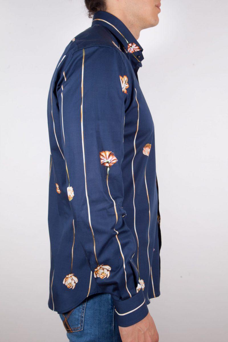 Camicia Fantasia Blu Collo Francese