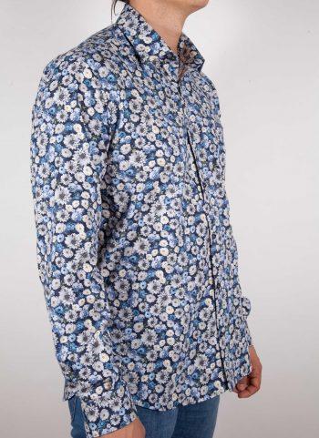 Camicia Fantasia Blu Collo Italiano