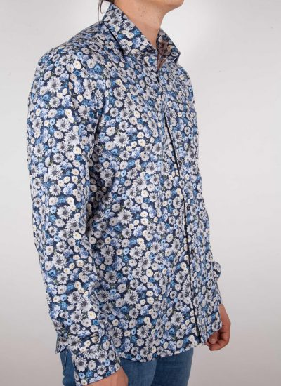 Camicia Fantasia Blu Collo Italiano