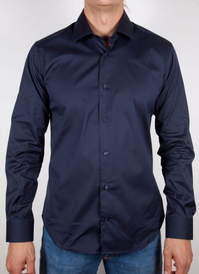 Blue shirt, italian collar