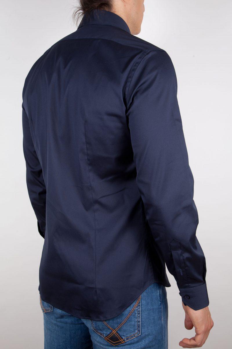Camicia Blu Popeline Collo Italiano