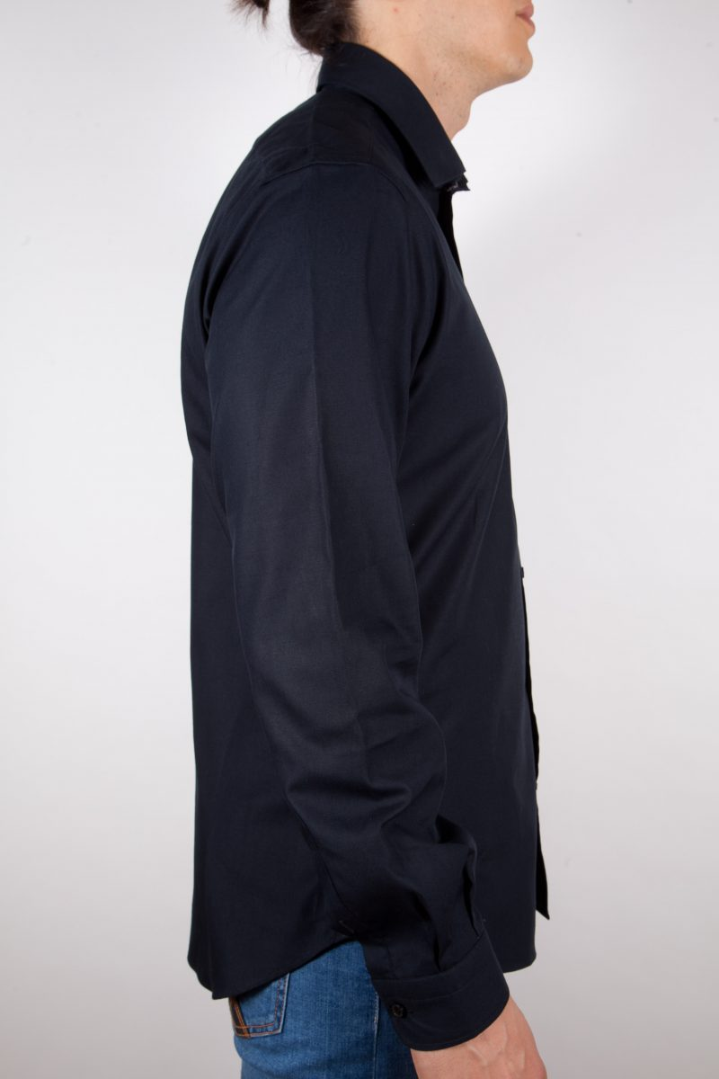 Camicia Nera Popeline Collo Italiano