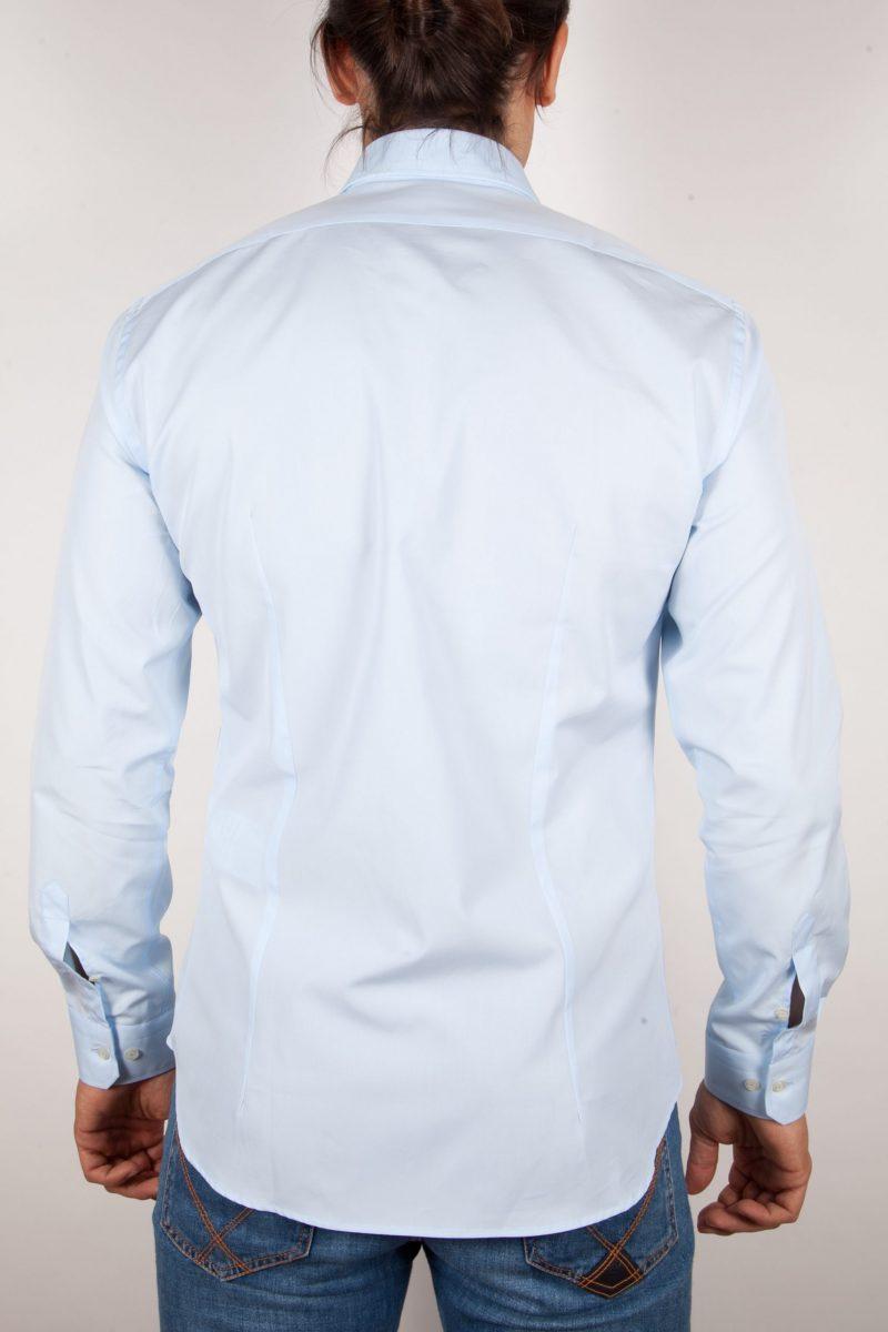Camicia Celeste Popeline Collo Italiano