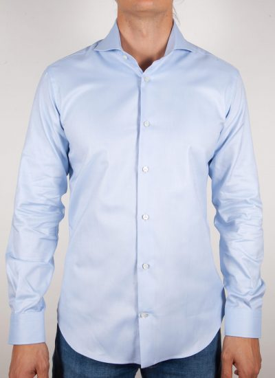 Camicia Celeste Oxford Collo Francese