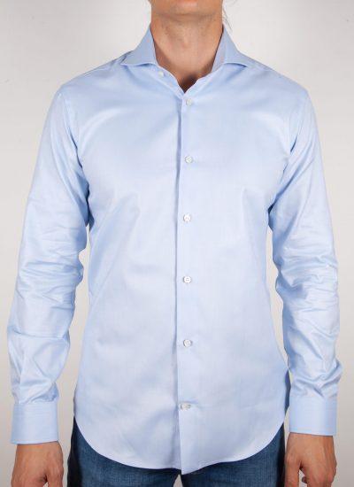 Camicia Celeste Oxford Collo Francese