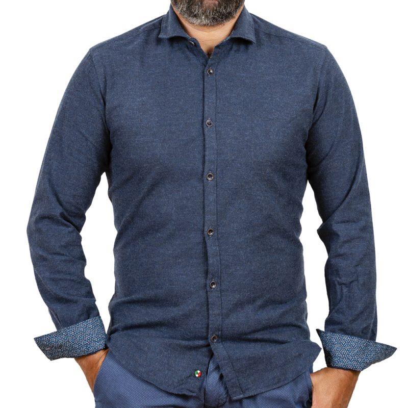 Camicia in flanella con contrasti fantasia