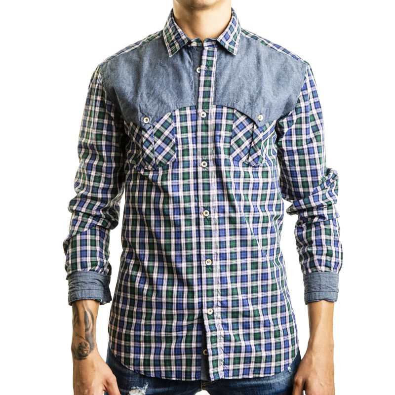 Camicia Quadri con contrasti in denim