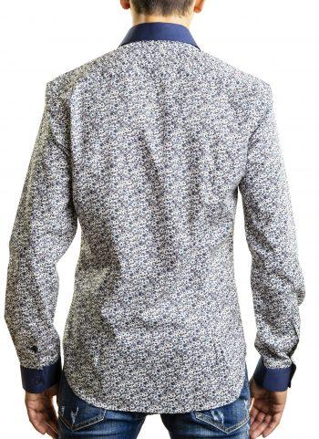 Camicia fantasia collo e polsi in contrasto