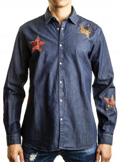 Camicia Denim con stelle patchwork