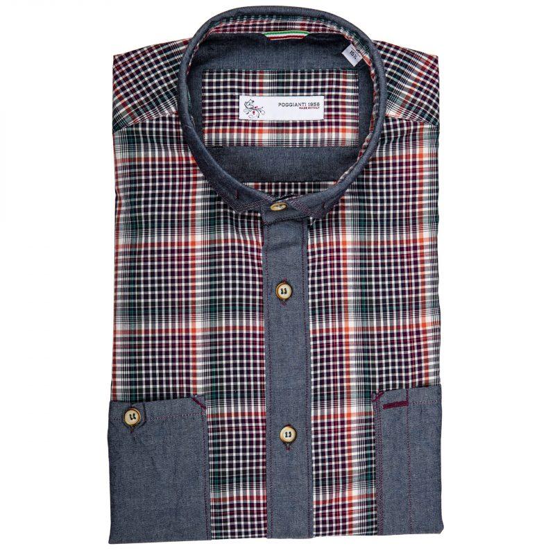 Camicia Quadri con contrasti in denim