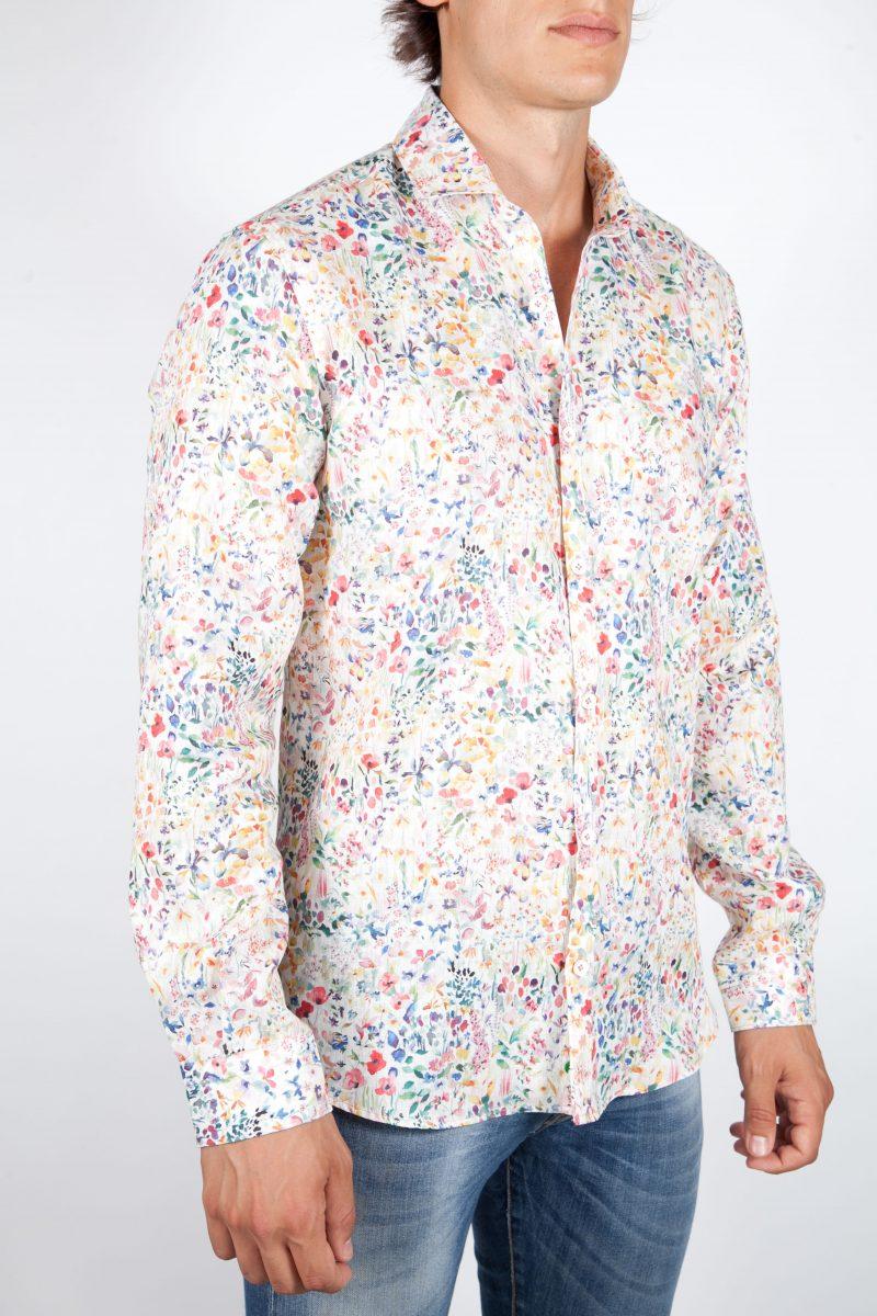 Camicia Fantasia Lino Collo Francese