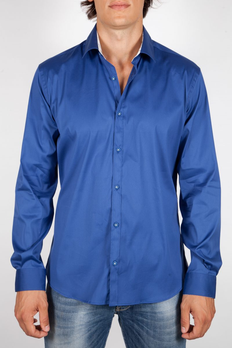 Patterned Solid Color Shirt with Italian Collar