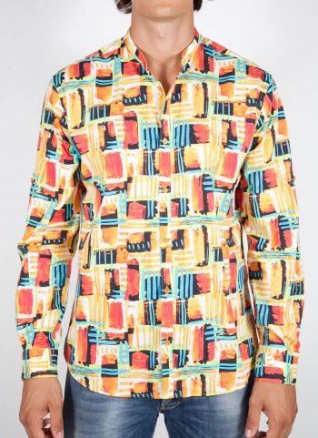Camicia Fantasia Collo Coreano Multicolor