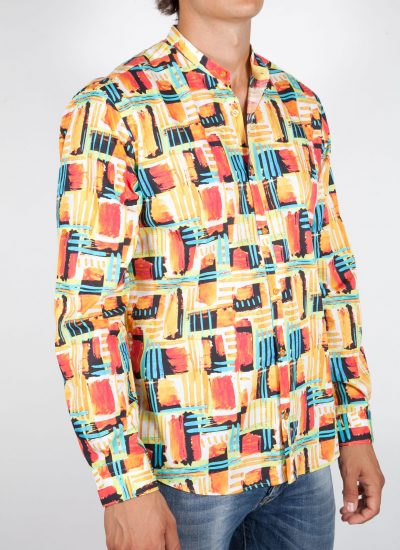 Multicolor Patterned Shirt with Mandarin Collar