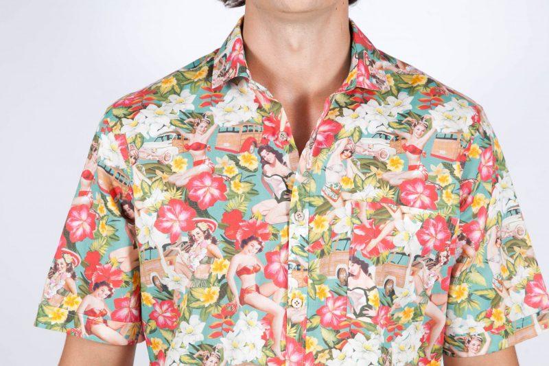 Camicia Fantasia Manica corta collo francese