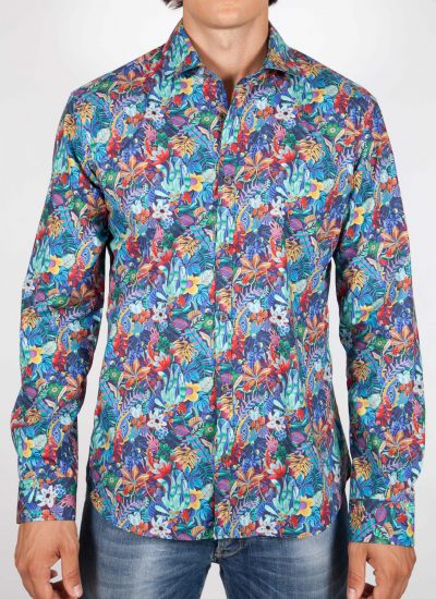 Patterned Shirt Italian Collar