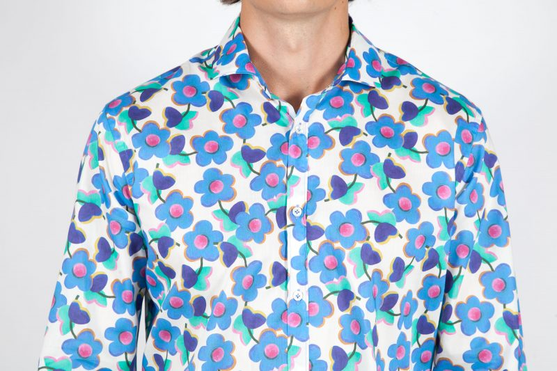 Patterned Shirt with small French Collar