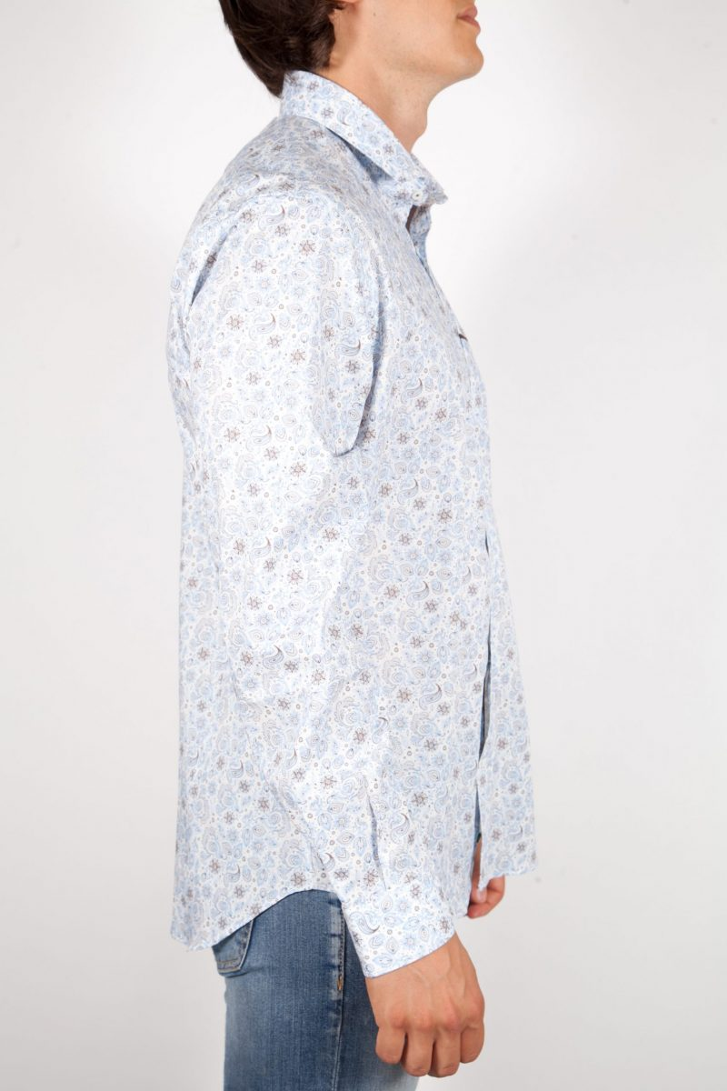 Patterned Shirt French Collar